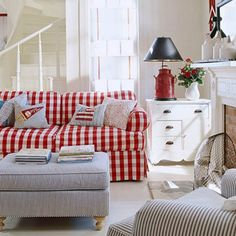 Modern Farmhouse in Illinois decorated in red, white, and blue via Better Homes and Gardens magazine