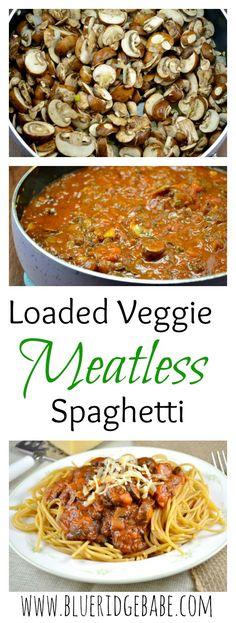 loaded veggie meatless spaghetti - simple vegetarian weeknight meal!
