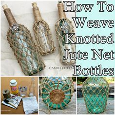 step by step tutorial of how to weave knotted jute net bottles is another way to add creatively twisted rustic charm to your homestead. Most of us hav Wine Bottle Art, Wine Bottle Crafts, Mason Jar Crafts, Diy Bottle, Glass Bottle, Jute Crafts, Diy Crafts, Cork Crafts, Diy Projects To Try
