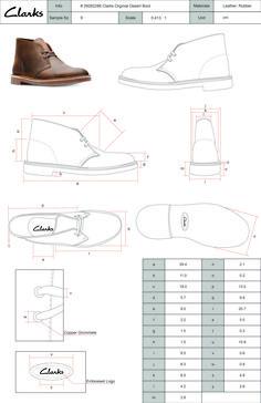 Clarks desert boot technical drawing