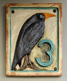 Raven House No. Pottery Houses, Ceramic Houses, Diy Birthday Gifts For Him, Ceramic House Numbers, Raven Bird, Crows Ravens, All Birds, China Painting, My Animal