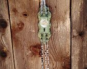 Vintage Style Metal Key Hole Wind Chime/ Sun Catcher with Glass Crystals and Pearls. Vintage style door knob wind chime made with glass crystals. Great wedding, party, garden or home decor.  #outdoor  #windchime #glasscrystals #handmade #gardendecor #rustic #vintage #gift #christmas