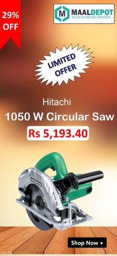 Hitachi Circular Saw- Spindle lock making blade changes easy. Shop at http://bit.ly/2aWgnXZ for affordable prices. To place orders,call or whatsapp to 9019156789