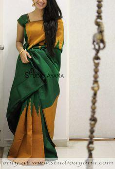 Green Perrot Colour Soft Silk Designer Saree – Sari Bhandar how many price of this saree. Kanjivaram Sarees Silk, Kanchipuram Saree, Soft Silk Sarees, Ikkat Saree, Sari Silk, Lehenga Choli, Cotton Saree, Saree Jackets, Saree Blouse Neck Designs