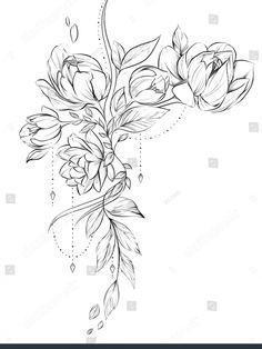 Peony Flower Tattoos, Beautiful Flower Tattoos, Peonies Tattoo, Flower Tattoo Hand, Mandala Flower Tattoos, Flower Tattoo Drawings, Tattoo Sketches, Time Tattoos, Body Art Tattoos