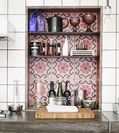 Inexpensive alternative to covering a splash back or floor with Moroccan tiles