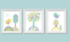 Bird Nursery Art Aqua Purple Yellow Girl's by SweetPeaNurseryArt Bird Nursery, Nursery Art, Nursery Decor, Room Decor, Baby Decor, Kids Decor, Sunflower Colors, Purple Yellow, Nursery Modern