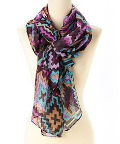 Love this Purple & Teal Tribal Scarf on #zulily! #zulilyfinds