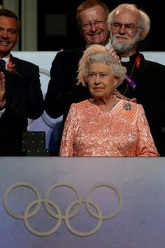 The Queen in pink at the 2012 Olympics Opening Ceremonies in London