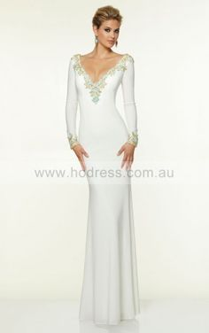 V-neck Long Sleeves Sheath None Floor-length Formal Dresses afbb1114--Hodress