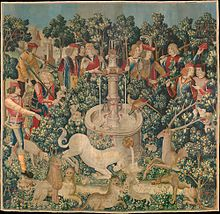 The Hunt of the Unicorn Tapestry, dyed with weld (yellow), madder (red), and woad (blue).