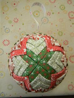 Handmade Christmas ball on the base of styrofoam covered with fabric. Diameter: 10 cm (4 inches).  Fabric - 100% cotton!    This ball can be a perfect present, indoor ornament!  * Not used for children or games, only for decoration!  If you want to change colour or size, or have any question - please send me a message