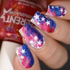 4th of July Independence Day Nail Art Americana Wet Brush Design