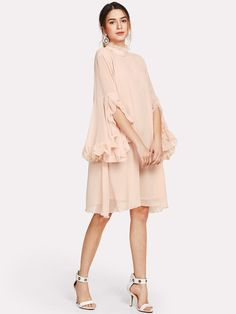 Frill Sleeve And Cuff Flow Summer Pink Stand Collar Women Knee Length Casual Chiffon Elegant Dress Dresses Near Me, Kohls Dresses, Cute Dresses, Dresses With Sleeves, Flowy Dress Casual, Casual Dresses, Fly Dressing, Pastel Fashion, One Piece Dress