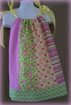 Cupcake Swirl Girl, Toddler, Pillowcase Dress Pink, Lime Green, Yellow Satin Ribbon on Etsy, $24.00 CAD