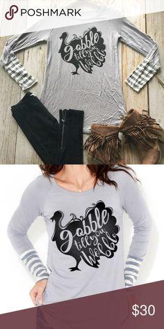 Gobble wobble thanksgiving tunic shirt top Gobble wobble thanksgiving tunic shirt top Tops Tunics