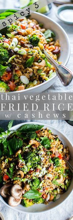 Crunchy, seasonal veggies shine in Thai Vegetable Fried Rice with Cashews. Prep ahead for meal planning and dinner comes together fast! Top with crunchy sesame seeds and green onions, for that authentic flavor. vegan or vegetarian + gluten free