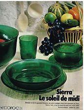 """Publicité Advertising 1971 La vaisselle en verre trempé Arcoroc modèle """"Sierra"""""""