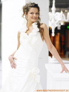 2012 Romantisches schönes Brautkleid aus Organza Bodenlang V-Ausschnitt