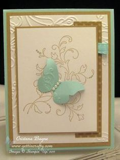 Creative Elements, Beautiful Wings embosslit, & Elegant Lines embossing folder. Thanks Cristena!