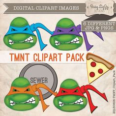 TMNT Digital Clipart Graphics. Instant Download. Use these for your Birthday Party Invites, Tags, Teenage Mutant Ninja Turtles Party