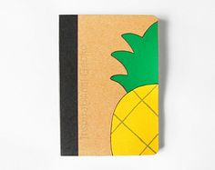 Pinapple pocket scketchbook, handpainted journal, eco-friendly notebook in bamboo paper, back to school gift idea School Notebooks, Cute Notebooks, Cute Crafts, Diy And Crafts, Diy Notebook Cover, Decorate Notebook, Back To School Supplies, Back To School Gifts, Summer Crafts