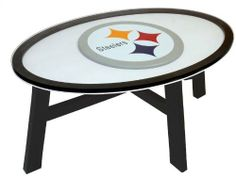 """Imperial Pittsburgh Steelers Coffee Table with Reversible Panel Each by Imperial. $265.00. Officially licensed Made in China. Wood coffee table. Reversible panel. Decorated with the team logoDimensions: W 44"""" x H 17"""" x D 24"""". Add some gridiron flair to your favorite room with this NFL® coffee table from Imperial®. It boasts a solid wood construction, features a reversible panel, and is decorated with the team logo."""