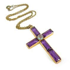 Vintage Art Deco Saphiret Purple Glass Cross Crucifix Necklace | Clarice Jewellery