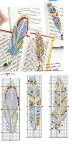 Beaded beads tutorials and patterns, beaded jewelry patterns, wzory bizuterii koralikowej, bizuteria z koralikow - wzory i tutorialefeather pattern - two facing opposite directions for rug?Beaded feathers instead of embroidery beadedjewelrymarque page - I Learn Embroidery, Hand Embroidery Designs, Beaded Embroidery, Embroidery Stitches, Embroidery Patterns, Knitting Stitches, Crochet Bookmarks, Cross Stitch Bookmarks, Beaded Cross Stitch