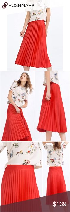 Zara Red Pleated Coated Midi Skirt 💋Olivia Palermo, Alexa Chung, Emma Stone Favorite Style💋  💃🏻GUCCI Pleated Skirt Style💃🏻  💃🏻Limited Edition!! Sold Out Everywhere!!💃🏻  🅿️$129 through PayPal🅿️  Product Detail: • Ref#: 7149/040 • Flare pleated skirt with waist seam • Mid length • Side zip fastening • A line • Color: Red • Size: XS/ S/ M/ L • Material: 73% Polyester, 25% Viscose, 2% Elastane • 100% BRAND NEW AND AUTHENTIC WITH TAG Zara Skirts Midi