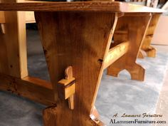 Tressel Bench by A. Lammers Furniture Reclaimed Brooklyn Water Tower and Red Oak #handmadefurniture