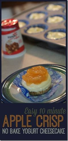 EASY Apple Crisp Yogurt Cheesecake! In just 10 minutes you can be eating this creamy, flavorful cheesecake snack. No bake cheesecake recipe perfect for fall. #SnackandSmile THIS RECIPE IS AMAZING!