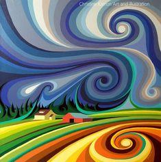 Before The Storm Art Print by Christine Karron Abstract Landscape, Abstract Art, Landscape Tattoo, Arte Peculiar, Arte Van Gogh, Frida Art, Yarn Painting, Arte Pop, Art Lessons