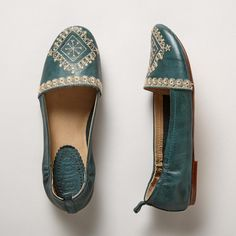 VINTAGE SPIRIT FLATS--Delicate embroidery recalls vintage linens and treasured trousseaux in these supple, leather flats. Imported. Whole and half sizes 6 to 10, 11. $90 at Sundance