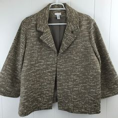 Chico's 3 Tweed #Metallic #Jacket Greenish Beige 1 Hook Closure Lined Women's L XL #Chicos