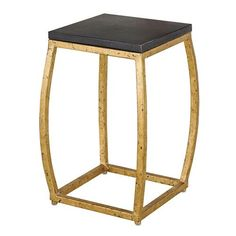 Boxwell Black Concrete and Gold Leaf Bunching Table