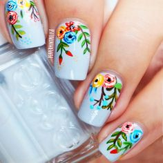 Stylish Flower Nail Art Design Ideas 27 - Who doesn't love properly manicured and well-groomed nails. Ensuring you get as creative with your nails as you are with your clothes is the industry . Great Nails, Cute Nail Art, Cute Nails, Nail Art Designs, Flower Nail Designs, Spring Nails, Summer Nails, Nail Art Halloween, Floral Nail Art
