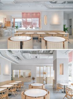 OFFICE COASTLINE have recently completed a new modern tea house in the city of Shanghai China for thelife-style brand Genshang. Restaurant Lounge, Restaurant Furniture, Coffee Shop Design, Cafe Design, Design Design, Design Ideas, Restaurant Interior Design, Modern Interior Design, Commercial Design