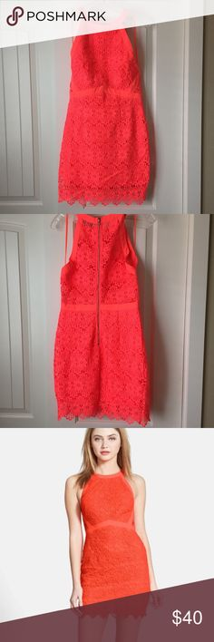 NWOT Neon ASTR Dress Neon pink/orange crochet ASTR dress with see through back. Never worn! Bought it for my honeymoon hoping it would fit by then but it was still too tight. Body con style dress ASTR Dresses