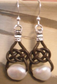 Brown Leather and Freshwater Pearl Earrings.