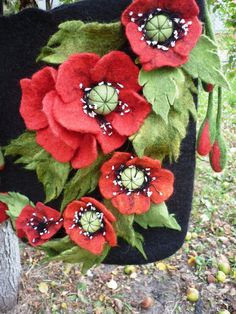 Gifting ideas. Bag with poppies by ViktoriyaSK on Etsy