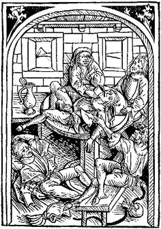 A student's drinking bout, from Directorium Statuum, Strassburg, about 1489.