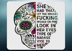 Sugar Candy Skull She Had That... Mouse Mat - White