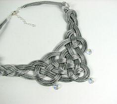 Celtic knot necklace Satin cord textile knotted por ShopPretties