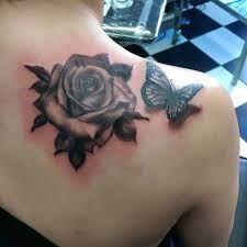 Risultati immagini per realistic butterfly flower tattoo