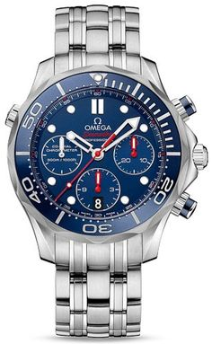 Stainless steel case with a stainless steel bracelet. Uni-directional rotating stainless steel bezel a blue top rings. Blue dial with silver-tone hands and index hour markers. Minute markers around th...