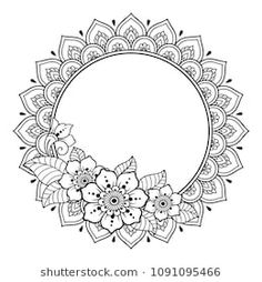 Circular pattern in form of mandala for Henna, Mehndi, tattoo, decoration -frame. Decorative ornament in ethnic oriental style. Coloring book page. Mehndi Tattoo, Diy Tattoo, Henna Mehndi, Mandala Coloring Pages, Coloring Book Pages, Mandala Design, Motif Design, Mandala Pattern, Abstract Pattern
