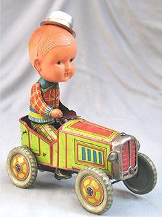 Masudaya Boy on Car  Tin toy from 50s  ebay