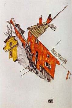 Artist: Egon Schiele Completion Date: 1917 Place of Creation: Vienna, Austria Style: Art Nouveau (Modern) Genre: sketch and study Gallery: Private Collection Tags: streets-and-squares, houses-and-buildings, Krumau Gustav Klimt, Urban Sketchers, Art Graphique, Wassily Kandinsky, Pablo Picasso, Painting & Drawing, Art History, Art Nouveau, Illustration Art