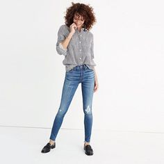 """Madewell+-+9""""+High-Rise+Skinny+Jeans+in+Allegra+Wash:+Rip+and+Repair+Edition"""